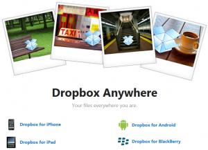 Dropbox oferuje dostęp swojej usługi poprzez aplikacje mobilne dla iPhone, iPad, Android i BlackBerry
