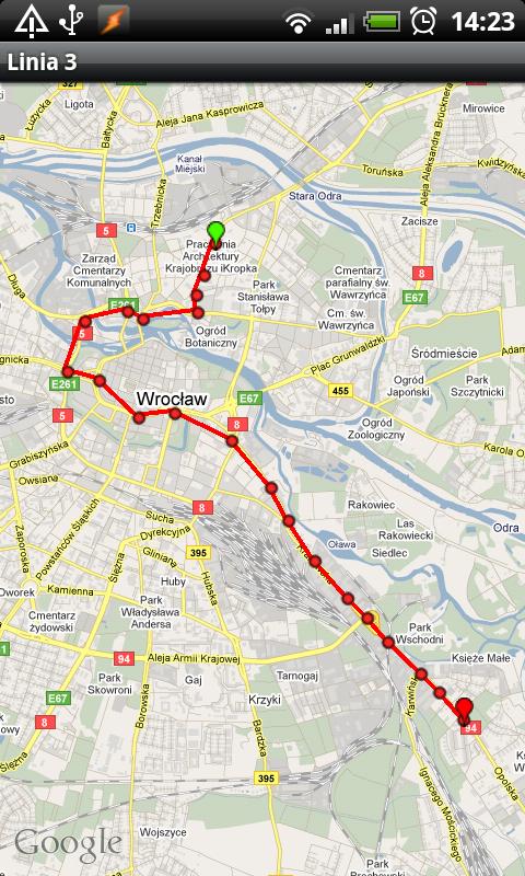 Trasa na mapie w Transportoid (grafika z serwisu transportoid.com)