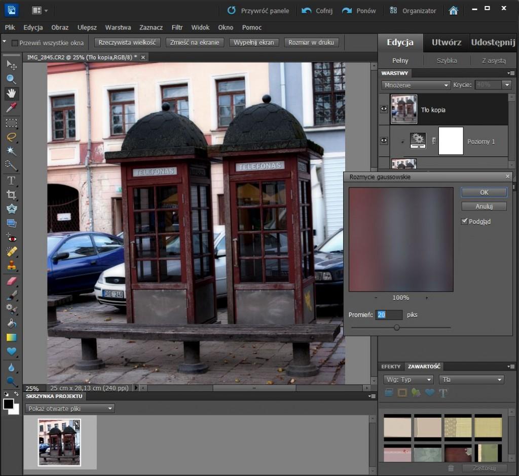 Stosowanie filtru w Adobe Photoshop Elements 10
