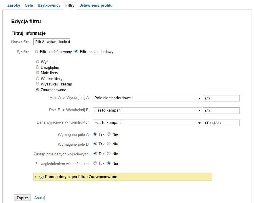 Filtr 2 - Dopisanie w Google Analytics pozycji do słowa kluczowego