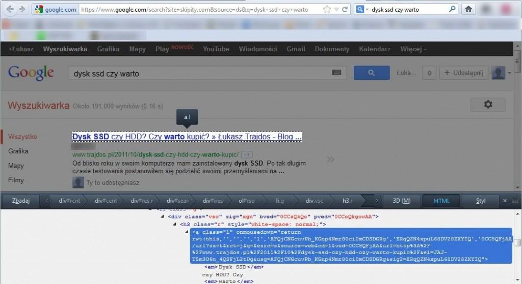 URL strony docelowej w wizytówce na stronie wyników wyszukiwania