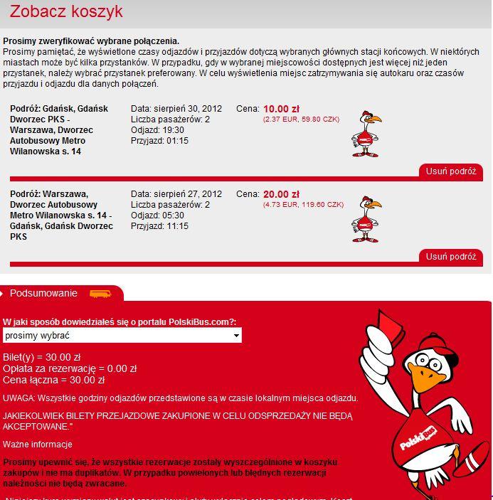 Koszyk z biletami PolskiBus.com (grafika z polskibus.com)