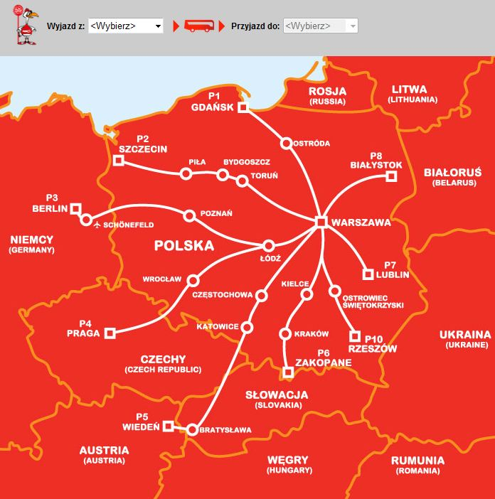 Mapa połączeń PolskiBus.com (grafika z polskibus.com)