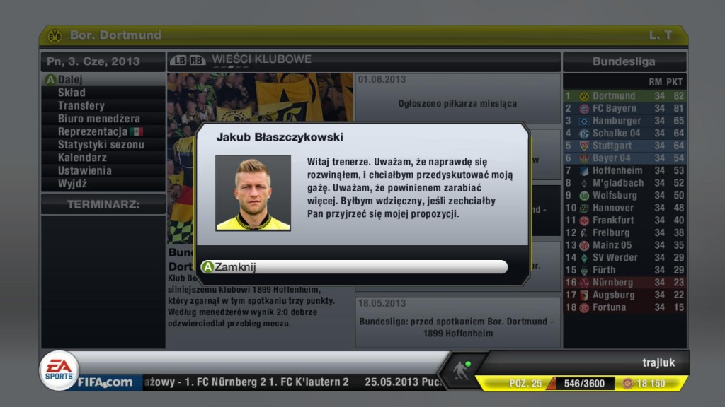 FIFA 13 - Kuba Błaszczykowski oczekuje podwyżki