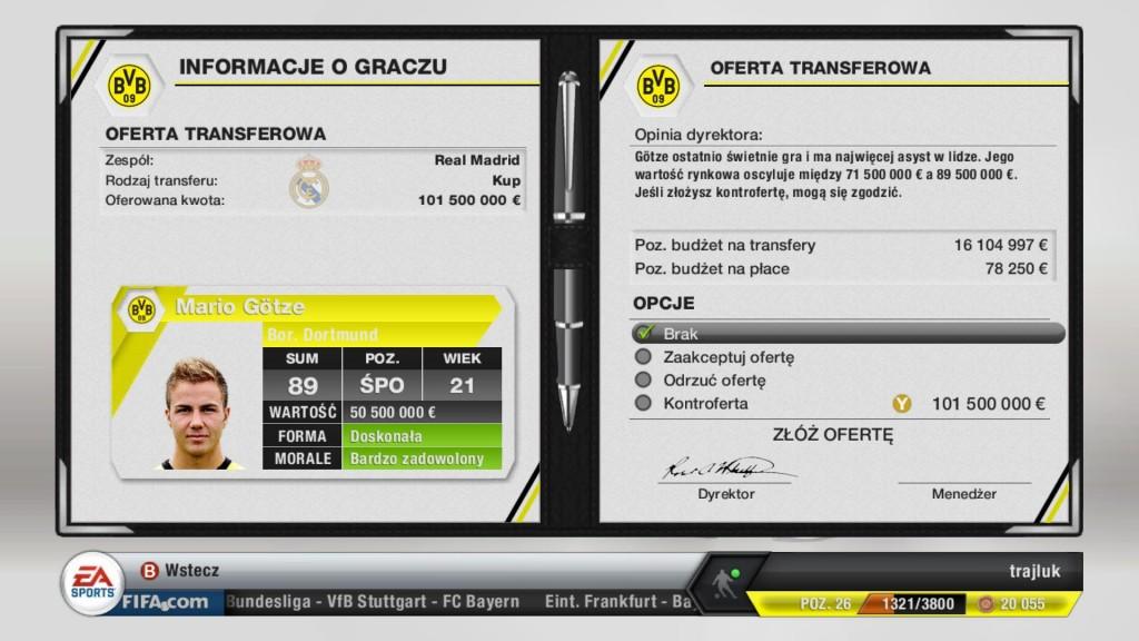 FIFA 13 - Olbrzymie pieniądze za Mario Goetze