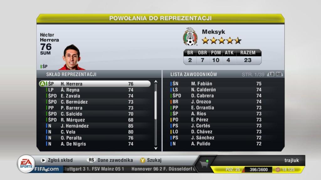 FIFA 13 - Powołania do reprezentacji Meksyku