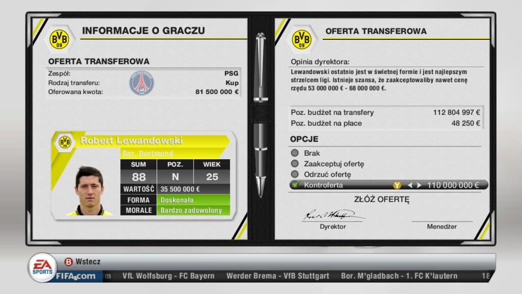 FIFA 13 - Robert Lewandowski jest na sprzedaż!