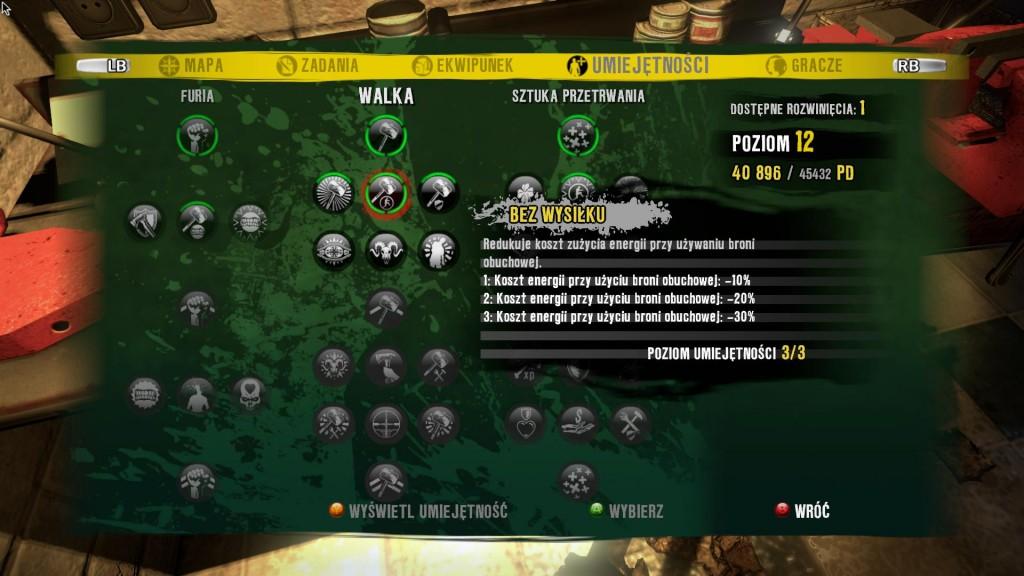 Rozwój postaci w Dead Island