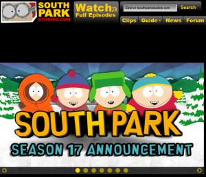Fragment strony głównej South Park Studios
