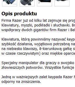 Fragment strony serwisu proline.pl, która została wskazana w zażaleniu jako ta kopiująca treści z razershop.pl