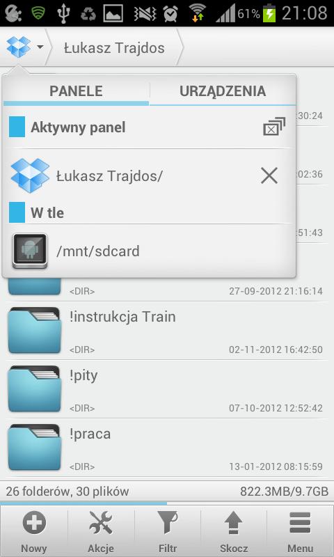 Konto Dropbox w Solid Explorer
