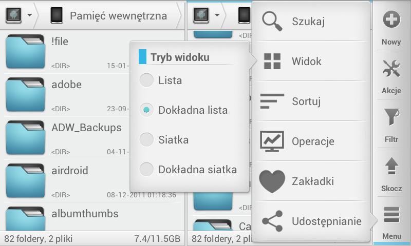 Przykładowe opcje dostępne w Solid Explorer