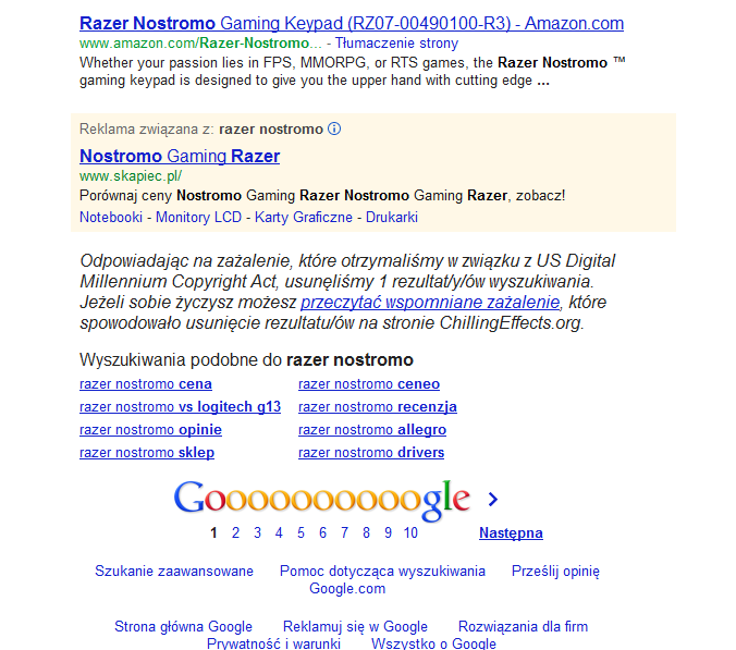 Wyniki wyszukiwania na stronie Google z komunikatem o zablokowaniu wyników