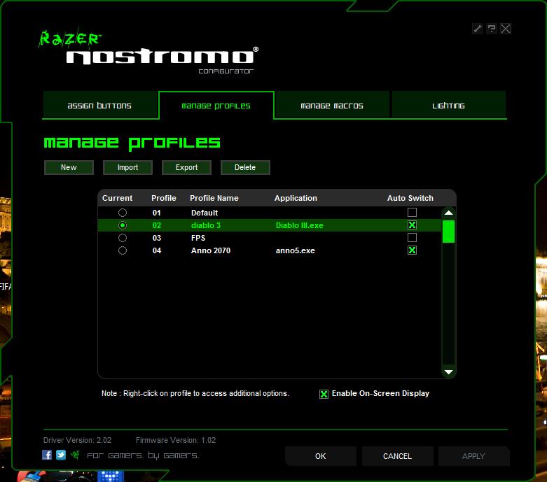 Zarządzanie profilami Razer Nostromo