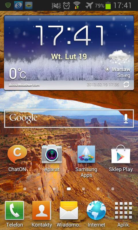 Główny pulpit interfejsu użytkownika Galaxy S2 w Androidzie 4.1.2