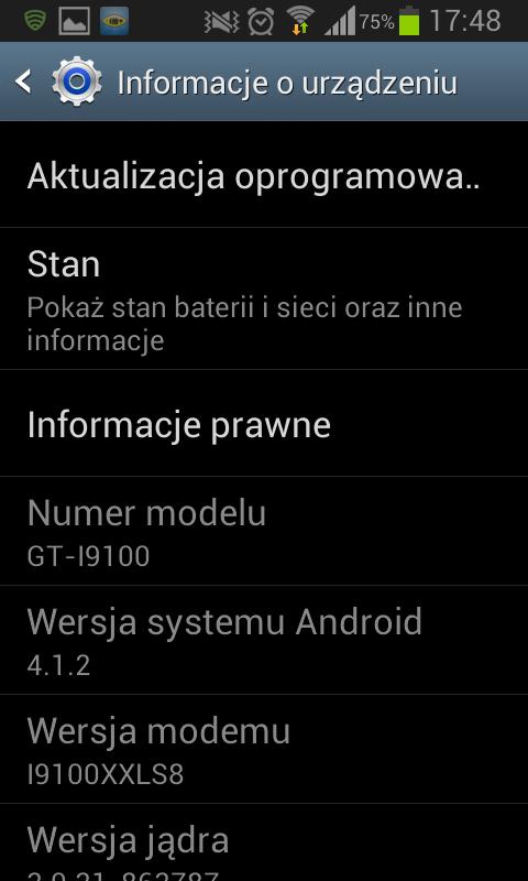 Informacje o wersji oprogramowania telefonu Galaxy S2 po aktualizacji do Android 4.1.2
