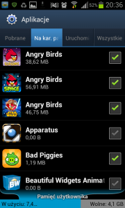 Lista zainstalowanych aplikacji w systemie Android z wyróżnieniem tych umieszczony na karcie pamięci