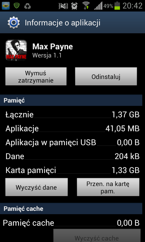 Wykorzystanie pamięci przez grę Max Payne w systemie Android