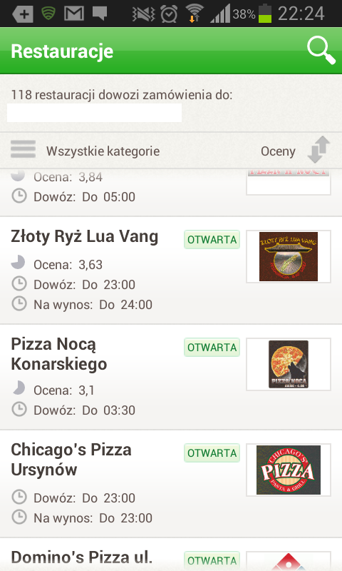 Lista restauracji dostępnych dla mojej lokalizacji w Pizza Portal