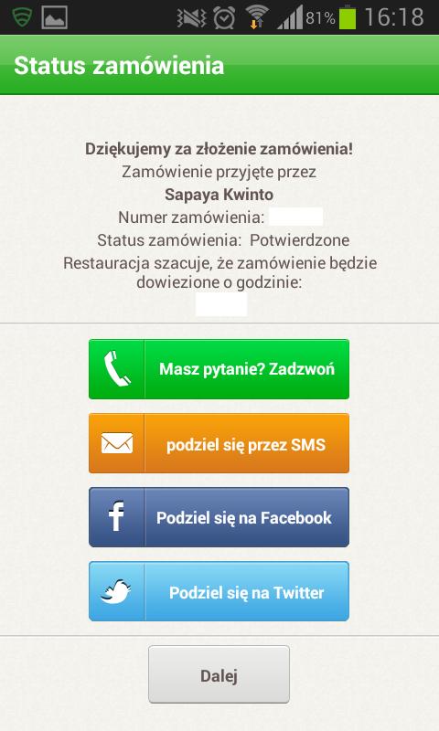 Potwierdzenie złożenia zamówienia w Pizza Portal