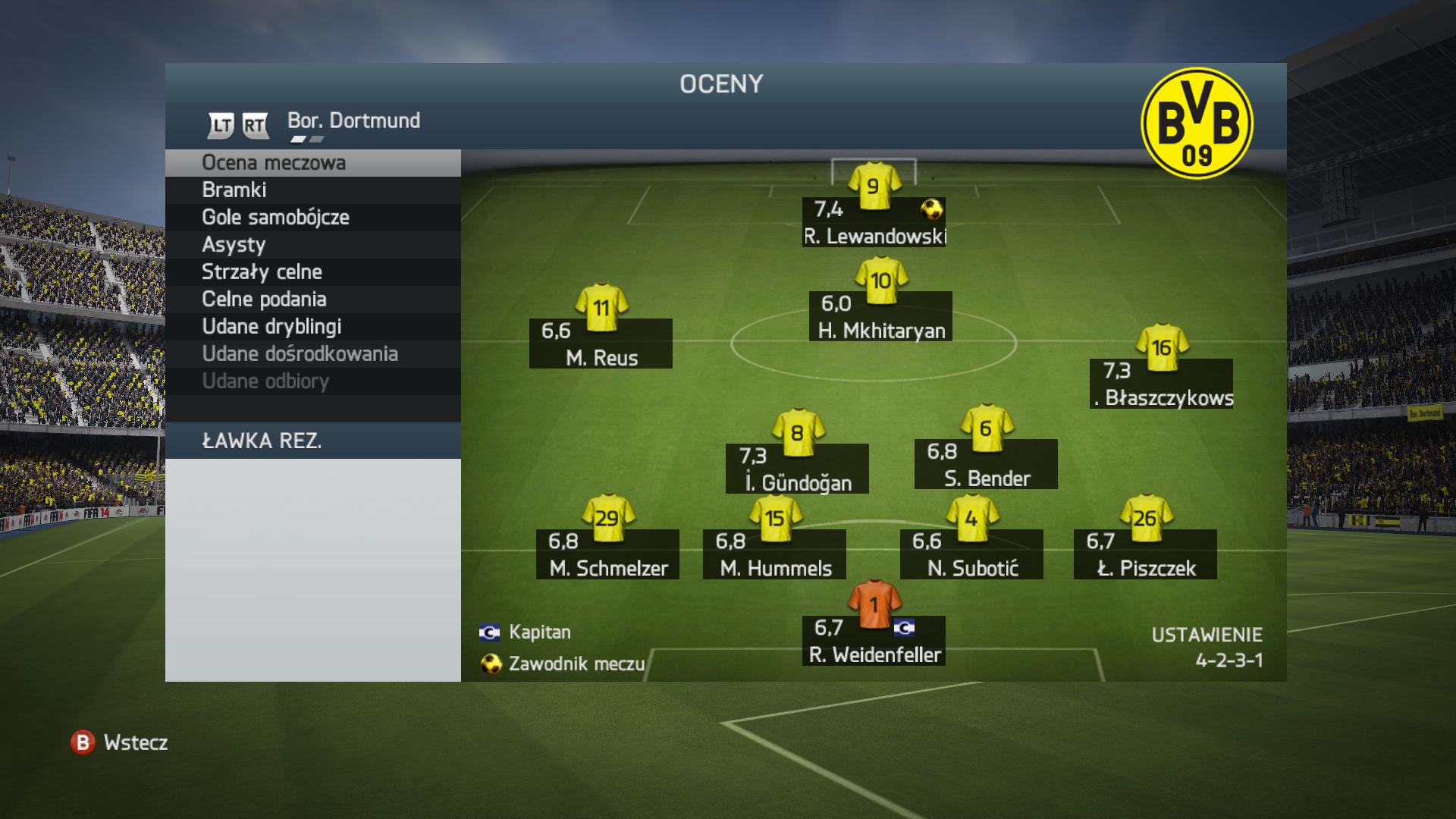 Ocena meczowa zawodników w FIFA 14