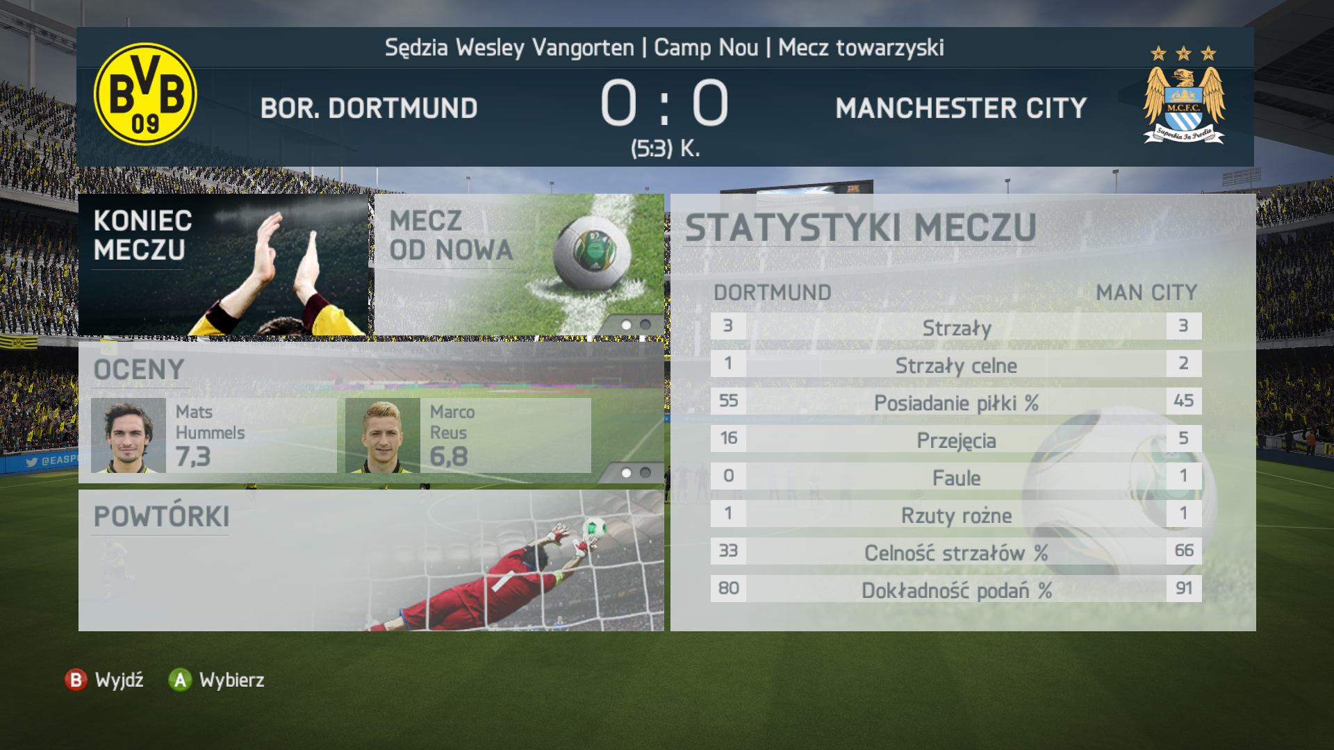 Podsumowanie meczu w FIFA 14 w nowej odsłonie graficznej