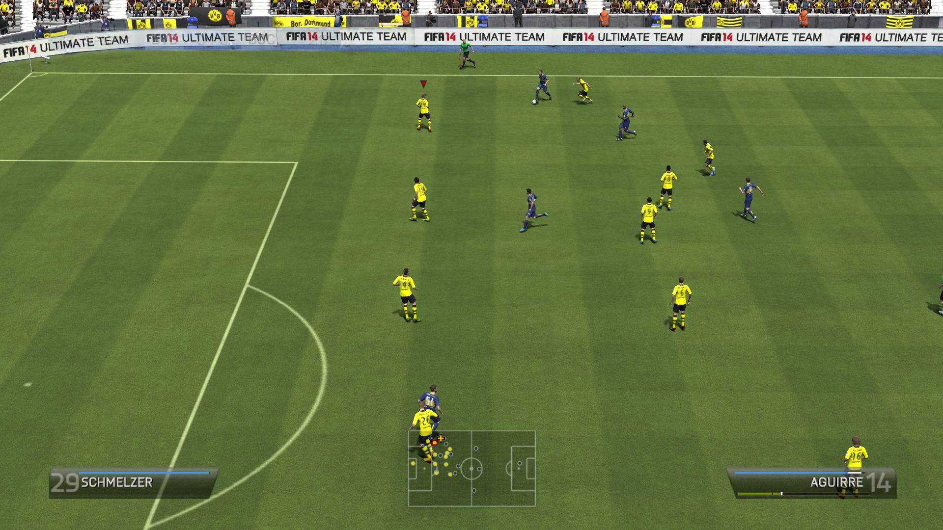 Widok z kamery meczowej w FIFA 14