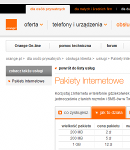 Pakiety internetowe w Orange