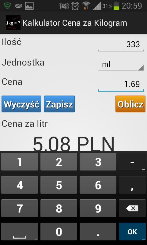 Wprowadzanie ceny opakowania w kalkulatorze cen