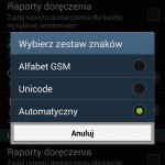 Domyślne ustawienia zestawu znaków SMS