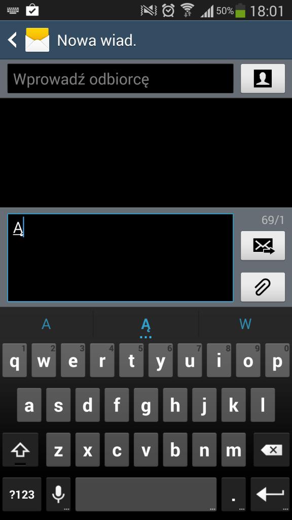 Po wpisaniu Ą w domyślnym kodowaniu w wiadomości zostało już tylko 69 znaków.