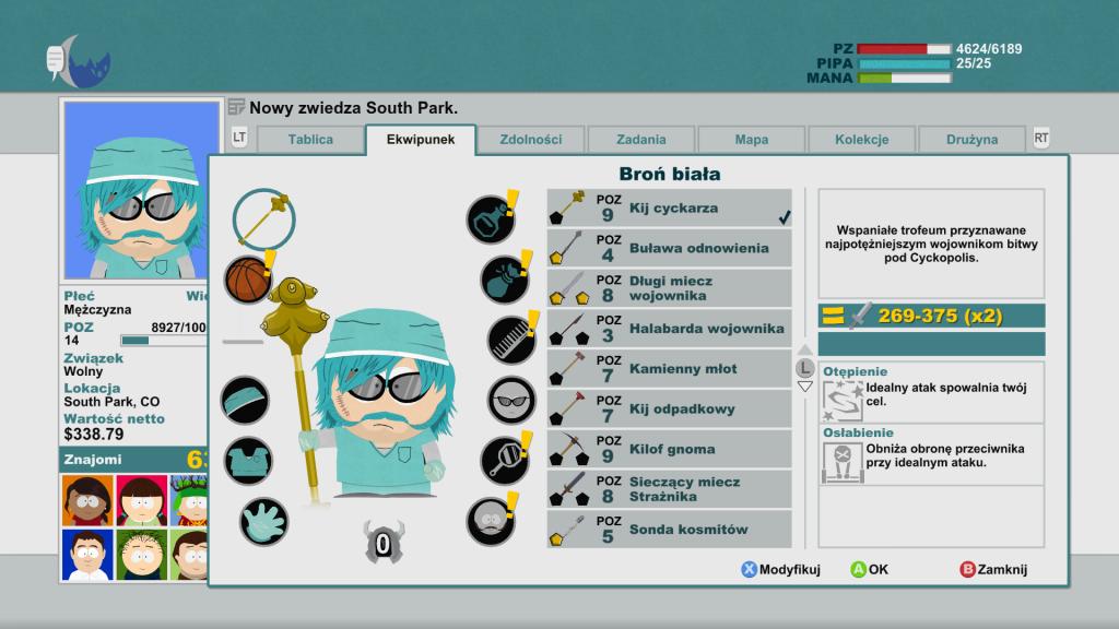 Ekwipunek głównego bohatera gry South Park Kijek Prawdy