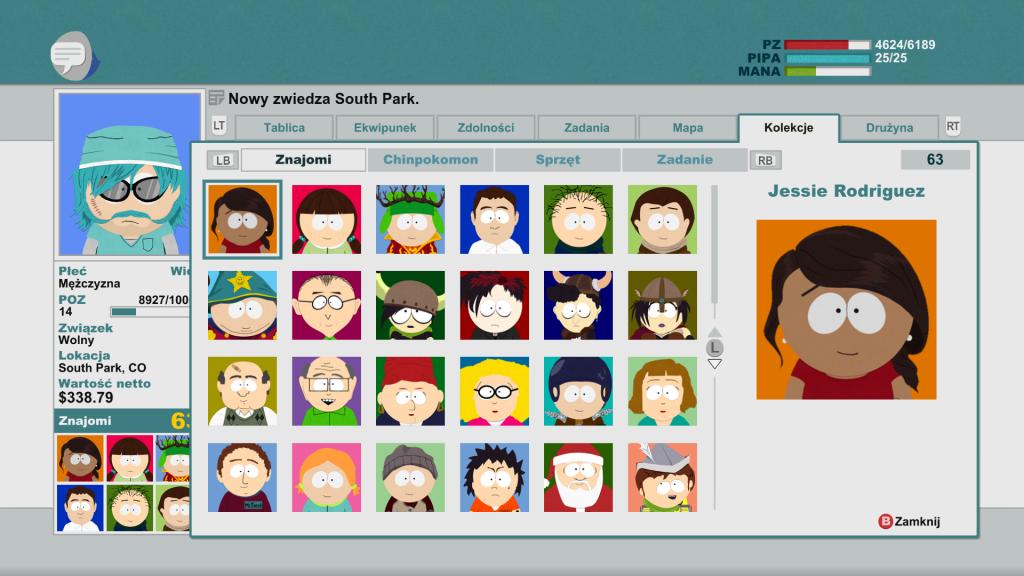 Lista znajomych bohatera gry Southa Park Kijek Prawdy w serwisie społecznościowym