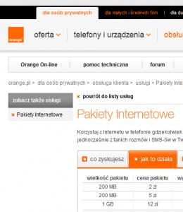 Pakiety internetowe w Orange